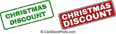 Grunge CHRISTMAS DISCOUNT Stamp Seals with Rounded Rectangle Frames
