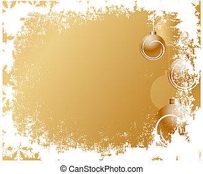 grunge christmas frame gold color