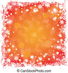 Christmas Frame - Grunge Christmas Frame with Snowflakes and...