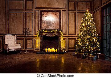 Grunge christmas room interior