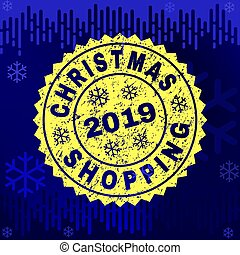 Grunge CHRISTMAS SHOPPING Stamp Seal on Winter Background