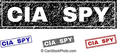 Grunge CIA SPY Scratched Rectangle Stamp Seals