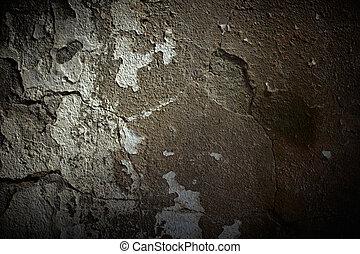 grunge, cimento, parede, com, dramático, luz