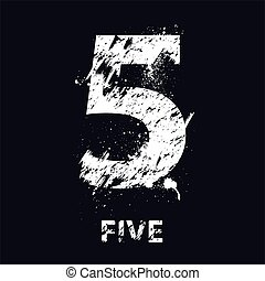 grunge, cinque, numero