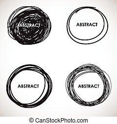 Grunge circle brush strokes set.
