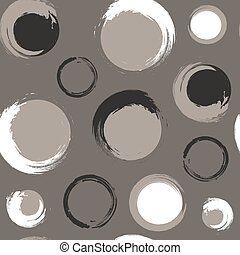 Seamless pattern of black and white grunge circles on a grey-brown or taupe background