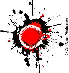 Grunge circular frame with red spla
