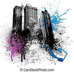grunge, città, disegno