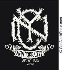 grunge, città, t-shirt, disegno, york, stampa, nuovo