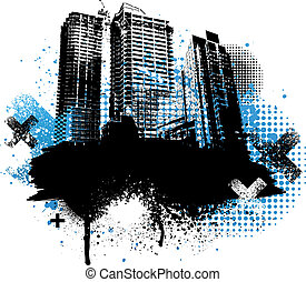 Grunge city design - Black city buildings and blue graffiti ...