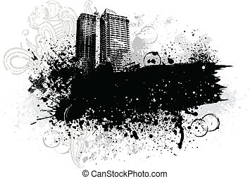 Grunge city design - Black city buildings and graffiti ...
