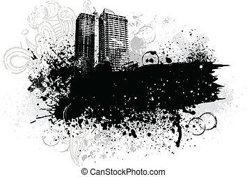 Grunge city design - Black city buildings and graffiti...