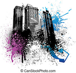 Grunge city design - Color graffiti and paint splatter...