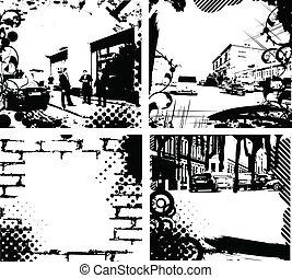 Grunge City - grunge floral wave background urban city...