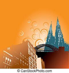Grunge city vector background