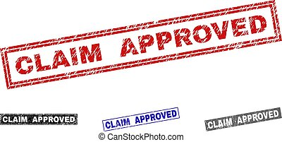 Grunge CLAIM APPROVED Scratched Rectangle Stamp Seals