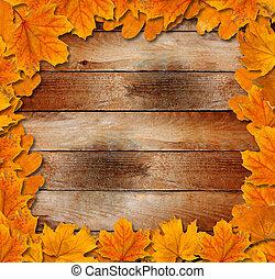 grunge, clair, feuilles, vieux, fond, bois, automne
