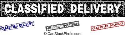 Grunge CLASSIFIED DELIVERY Textured Rectangle Stamps