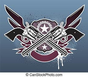 grunge - Vector illustration of Two cowboy revolver guns...