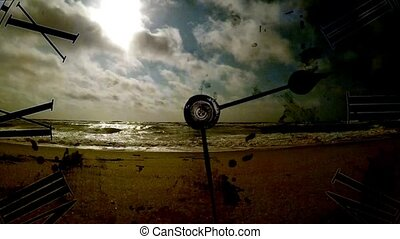 Grunge clock and clouds and sea. time lapse