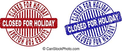 Grunge CLOSED FOR HOLIDAY Scratched Round Stamp Seals