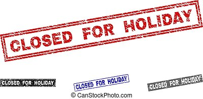 Grunge CLOSED FOR HOLIDAY Textured Rectangle Stamp Seals