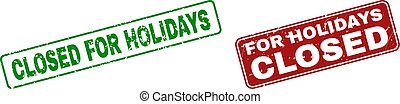 Grunge CLOSED FOR HOLIDAYS Stamp Seals with Rounded Rectangle Frames