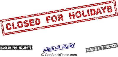 Grunge CLOSED FOR HOLIDAYS Textured Rectangle Stamp Seals