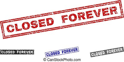 Grunge CLOSED FOREVER Textured Rectangle Stamp Seals