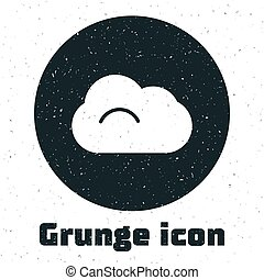 Grunge Cloud icon isolated on white background. Monochrome vintage drawing. Vector Illustration