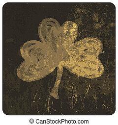 Grunge clover leaf. Vector