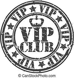 grunge, club, estampilla, caucho, vecto, vip