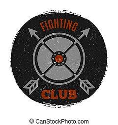 grunge, club, vendange, effet, combat, étiquette