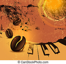 Grunge coffee background - Abstract cafeteria poster with...