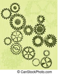 Grunge cogs on a green background