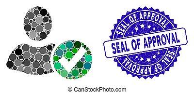grunge, colagem, ícone, selo, usuário, aprovação, aplique, selo