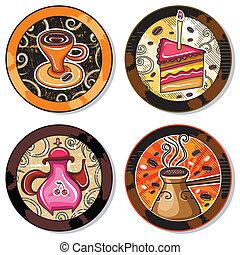 Grunge collection of drink coasters - coffee, tea, yerba...