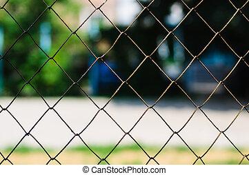 grunge, collegamento, catena, recinto