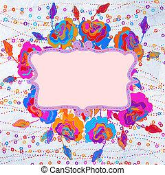 grunge, coloré, eps, arrière-plan., 8, fleurs