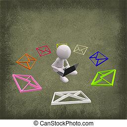 grunge, coloré, gens, fond, courrier, 3d