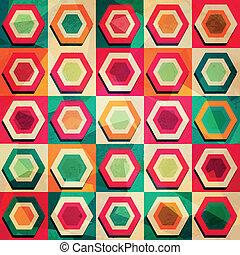 grunge, coloré, modèle, effet, rhombe, seamless