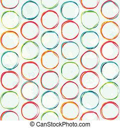 grunge, coloré, modèle, effet, seamless, cercle