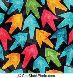 grunge, coloré, modèle, flèches, effet, seamless