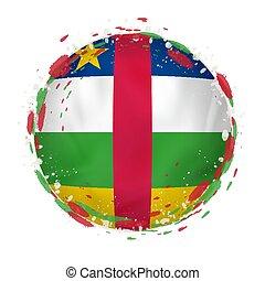 grunge, color., flagga, republik, stänk, afrikansk, mellerst, runda