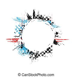 Grunge color tire banner circle