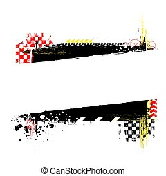 Black grunge horizontal frame with red and yellow race elements