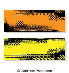 Grunge color tire track banners set