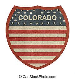 grunge, colorado, 美國人, 州際的公路, 簽署