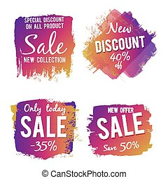 Grunge colorful discount and sale labels isolated on white background