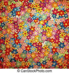 grunge colorful flowers background pattern vintage stily